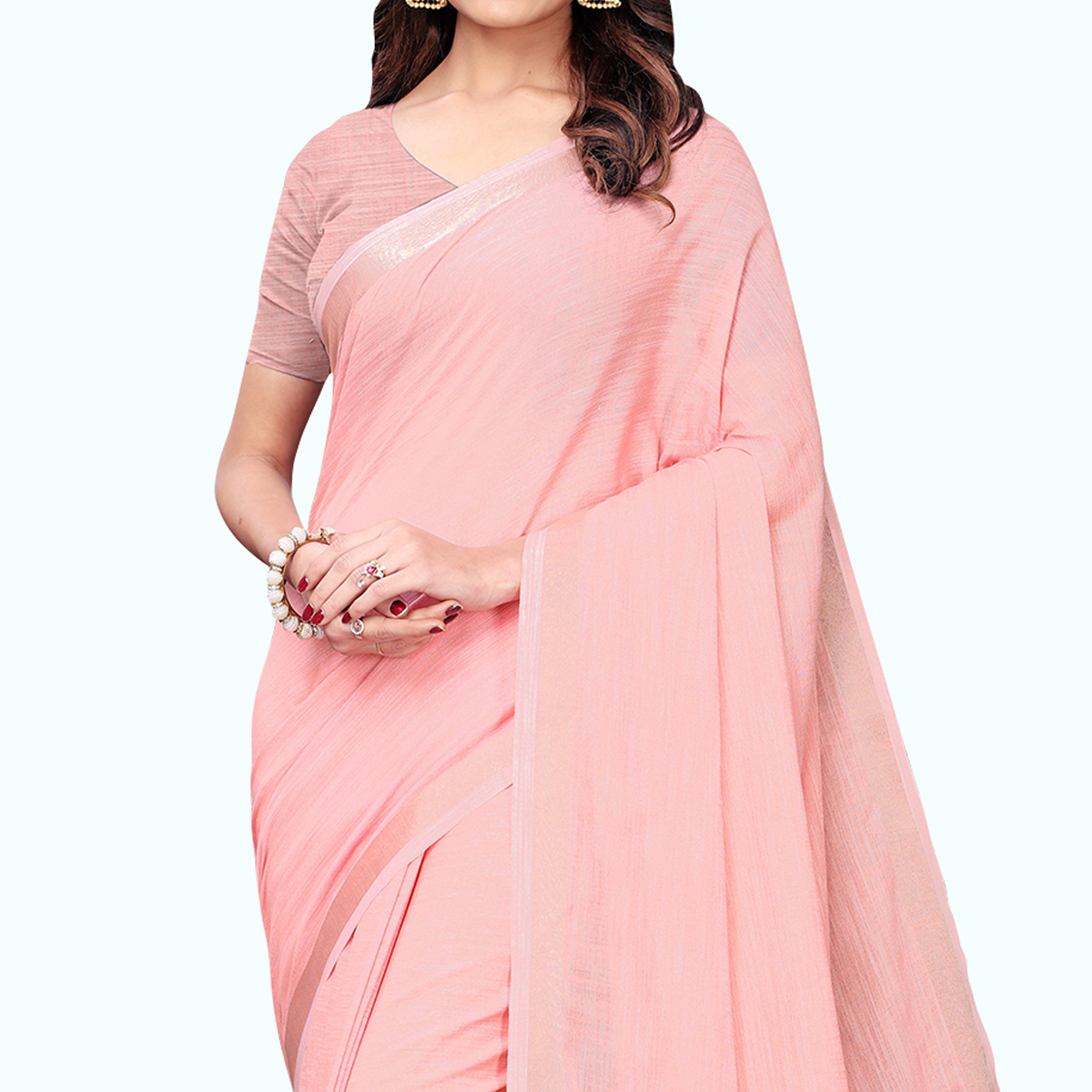 Gleaming Rose Pink Colored Festive Wear Cotton Linen Saree