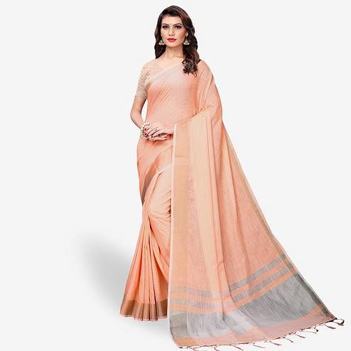 Mesmeric Peach Colored Festive Wear Cotton Linen Saree