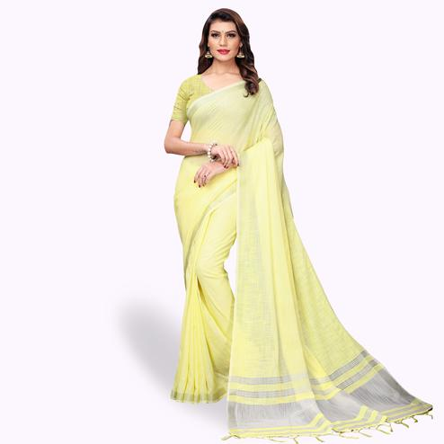 Unique Lemon Yellow Colored Festive Wear Cotton Linen Saree