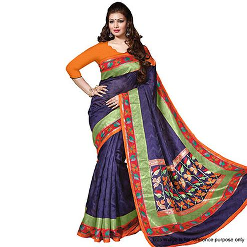 Navy Blue - Orange Casual Wear Saree