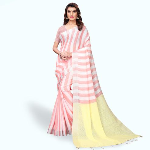 Marvellous White - Pink Colored Festive Wear Cotton Linen Saree
