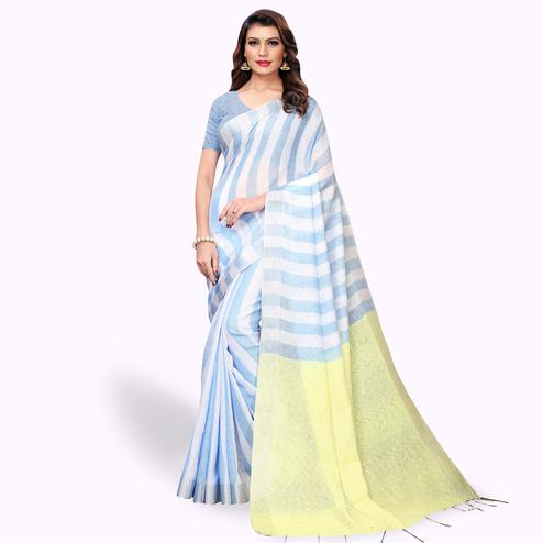 Flamboyant White - Blue Colored Festive Wear Cotton Linen Saree