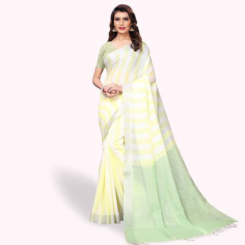 Pretty White - Yellow Colored Festive Wear Cotton Linen Saree