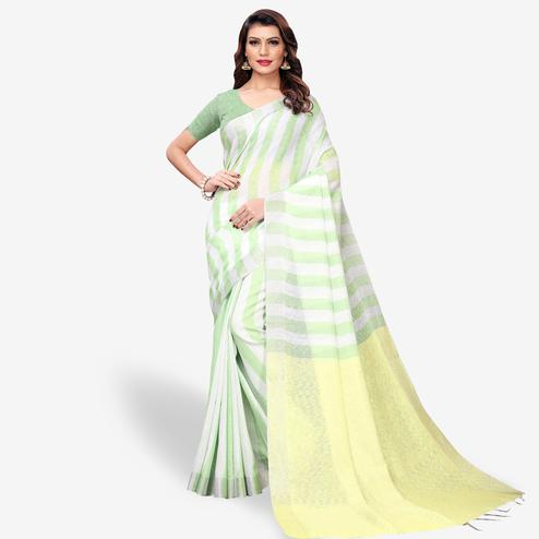 Alluring White - Green Colored Festive Wear Cotton Linen Saree