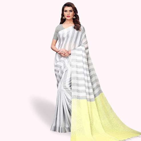 Sensational White - Gray Colored Festive Wear Cotton Linen Saree