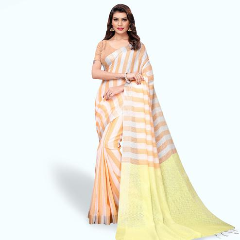 Flaunt White - Orange Colored Festive Wear Cotton Linen Saree