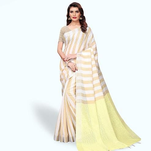 Stunning White - Beige Colored Festive Wear Cotton Linen Saree