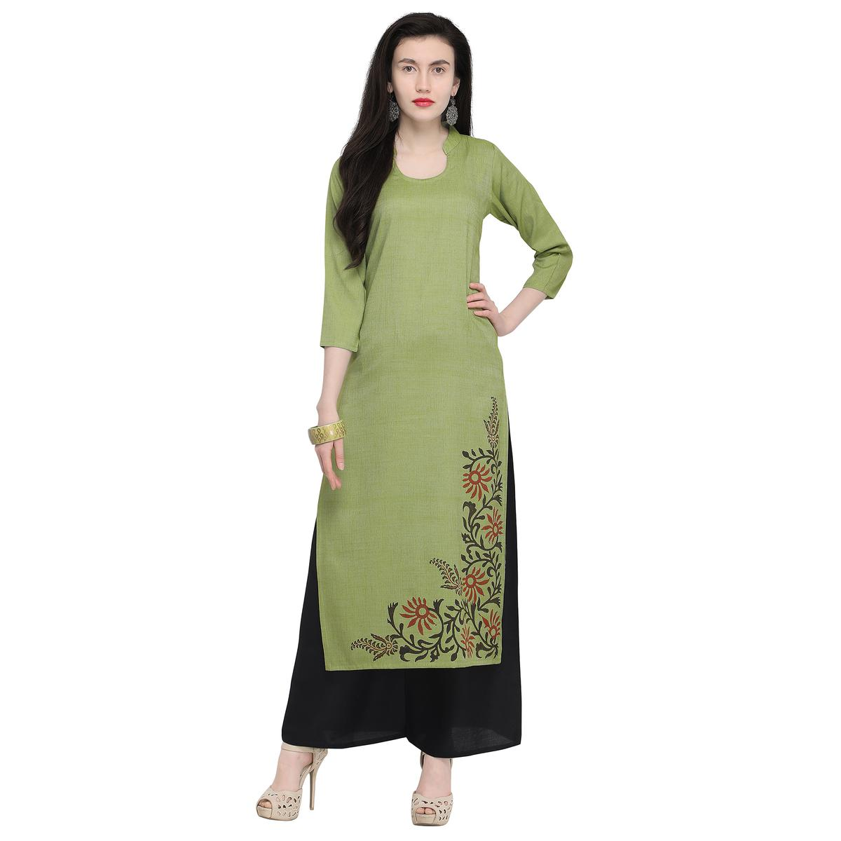 Pleasant Green Colored Casual Wear Printed Rayon Kurti
