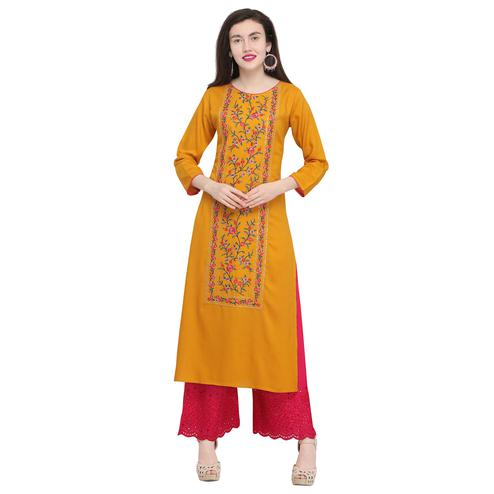 Opulent Orange Colored Casual Wear Embroidered Rayon Kurti