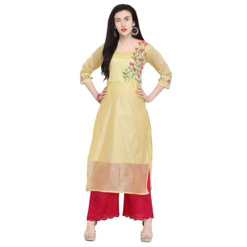 Energetic Light Yellow Colored Casual Wear Embroidered Chanderi Silk Kurti