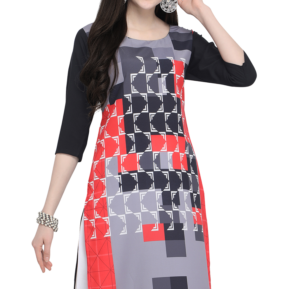 Glowing Multi Colored Casual Wear Printed Crepe Kurti