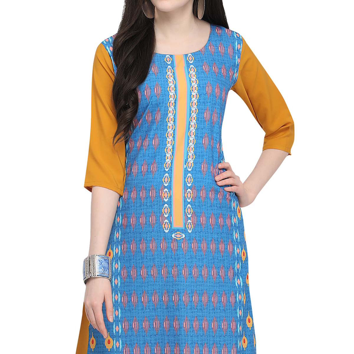 Exceptional Blue Colored Casual Wear Printed Crepe Kurti