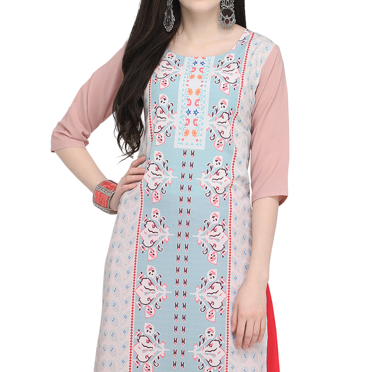 Gleaming Pastel Pink - Blue Colored Casual Wear Printed Crepe Kurti