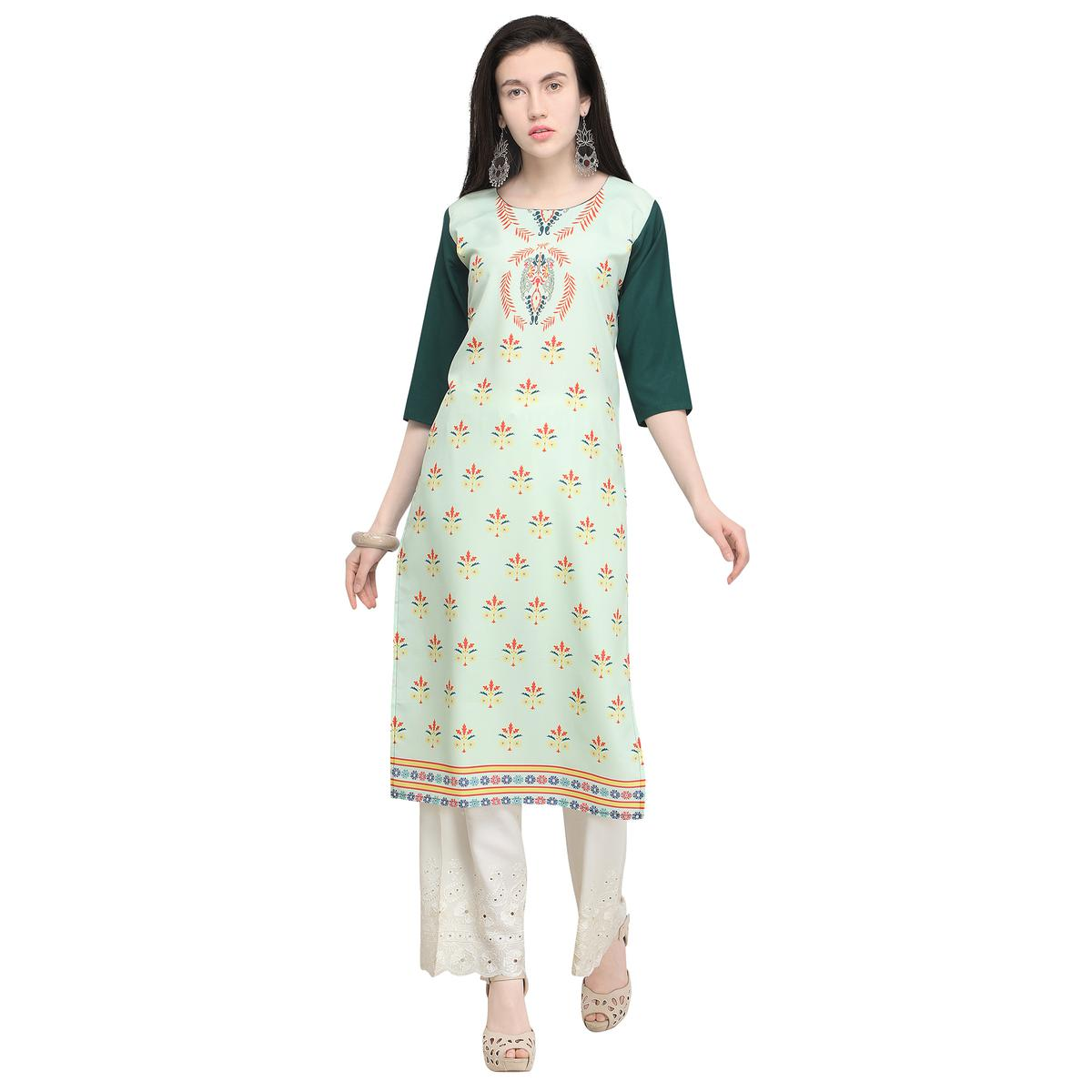 Mesmeric Pastel Pista Colored Casual Wear Printed Crepe Kurti