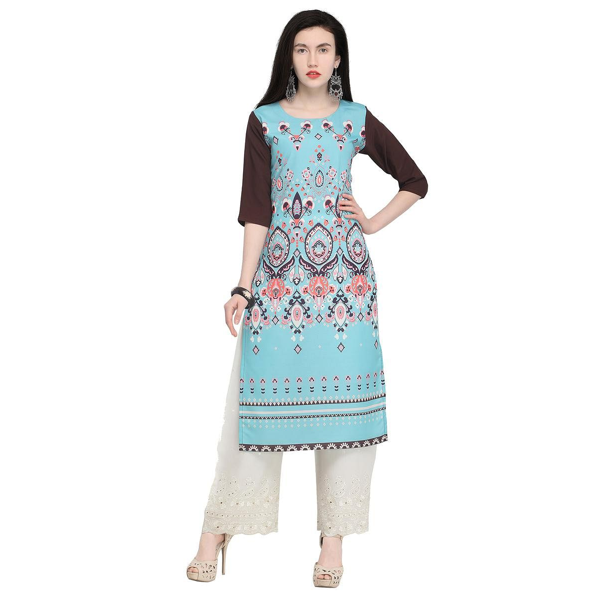 Unique Blue Colored Casual Wear Printed Crepe Kurti