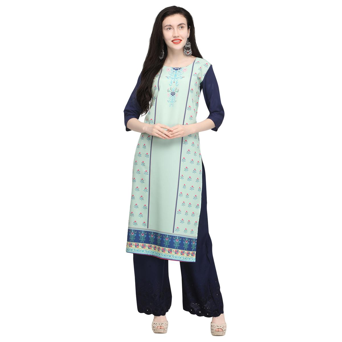 Demanding Pastel Aqua Green Colored Casual Wear Printed Crepe Kurti
