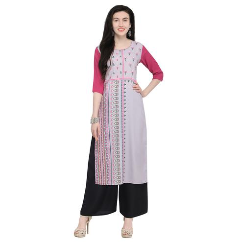Refreshing Pastel Purple Colored Casual Wear Printed Crepe Kurti
