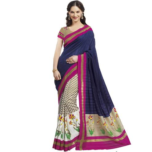 Blue Bhagalpuri Silk Casual Saree