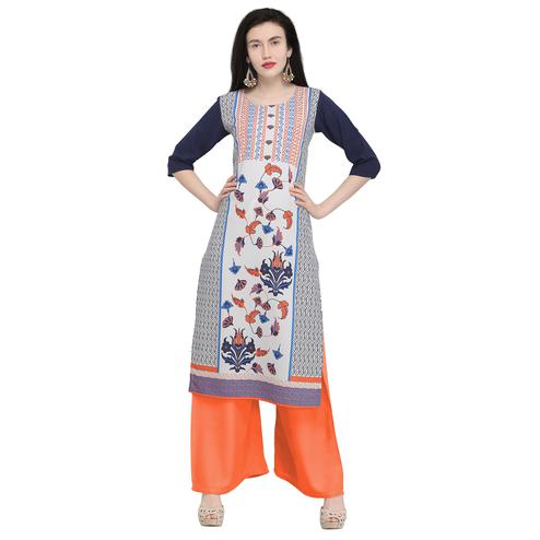 Magnetic Off White Colored Casual Wear Printed Crepe Kurti