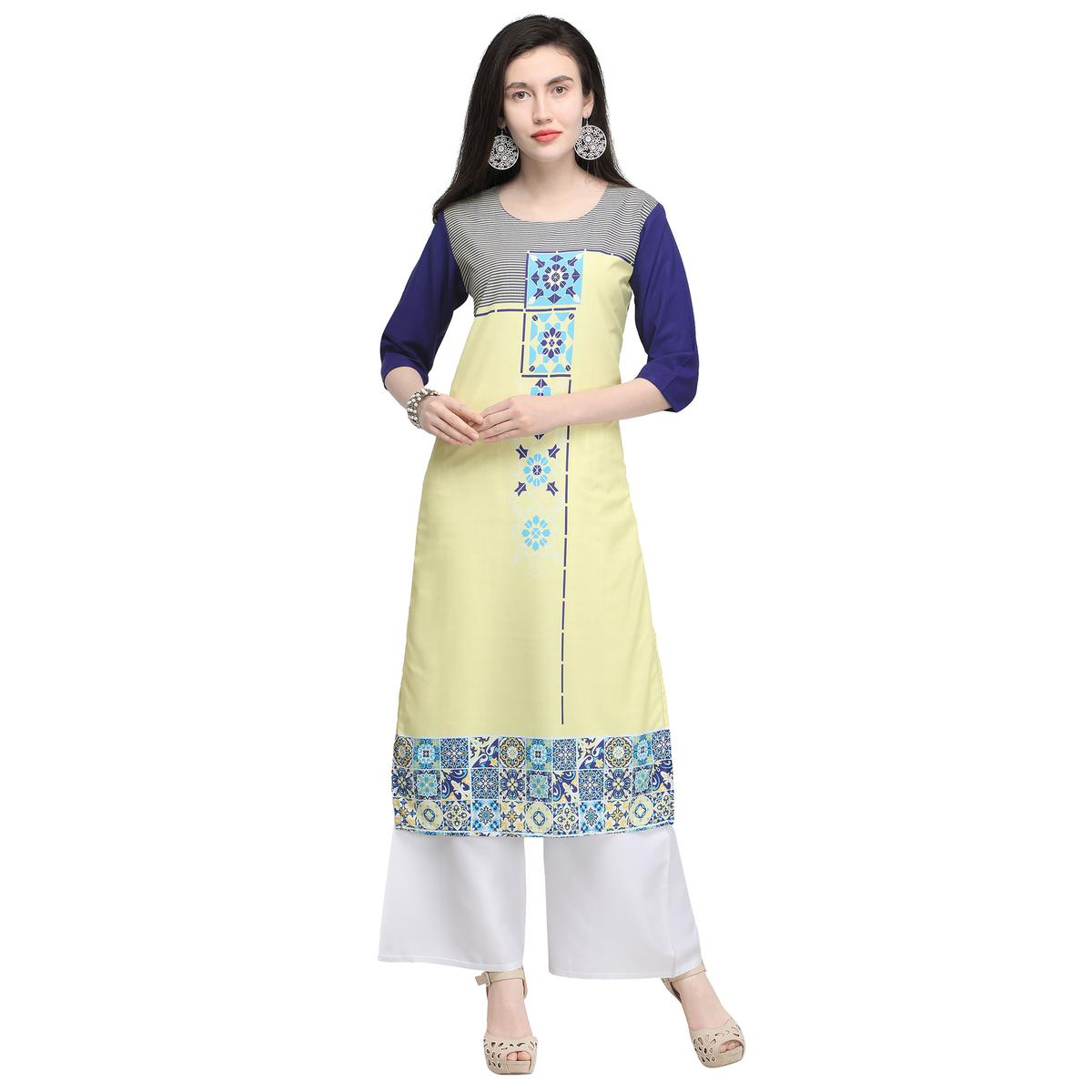 Excellent Lemon Yellow Colored Casual Wear Printed Crepe Kurti