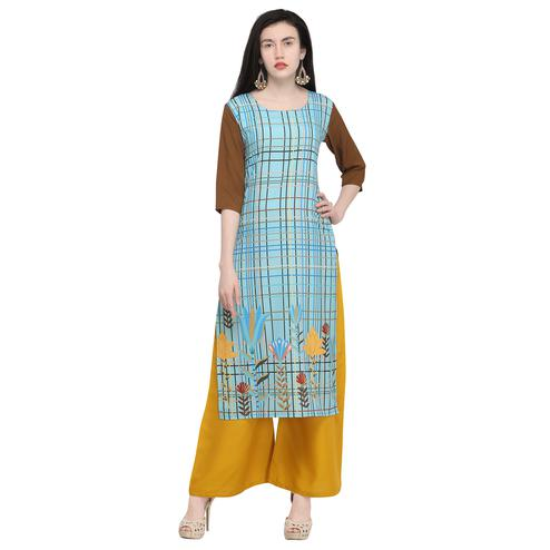 Preferable Blue Colored Casual Wear Printed Crepe Kurti