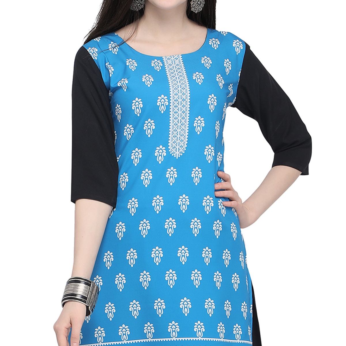 Marvellous Blue Colored Casual Wear Printed Crepe Kurti