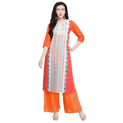 Flamboyant Coral Red Colored Casual Wear Printed Crepe Kurti