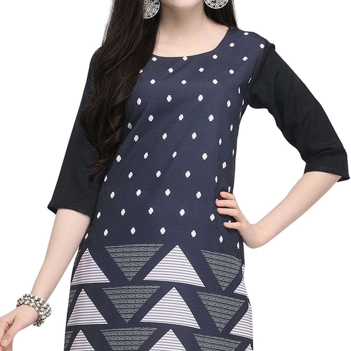 Pretty Dark Gray Colored Casual Wear Printed Crepe Kurti