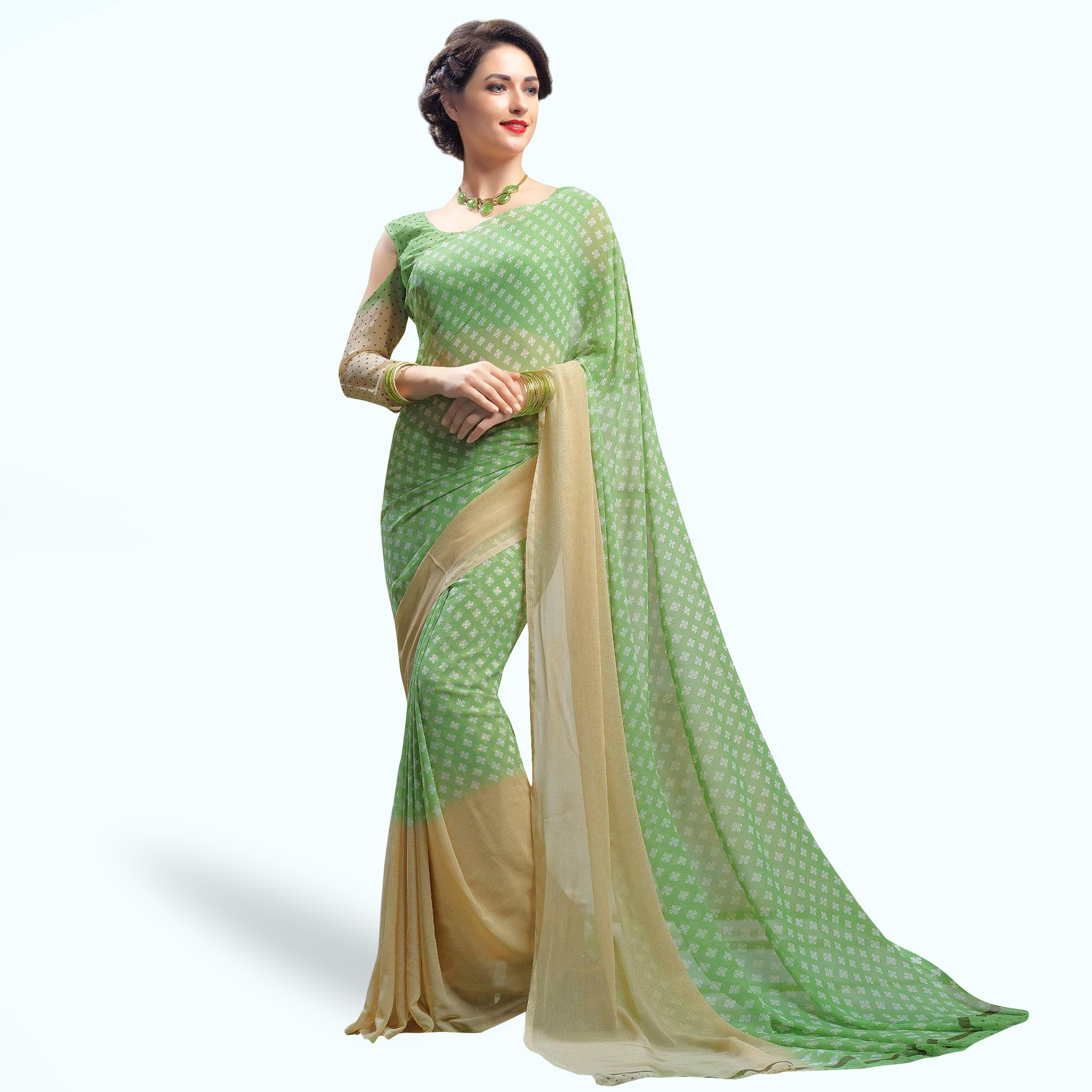 Radiant Green Colored Casual Printed Faux Georgette Saree