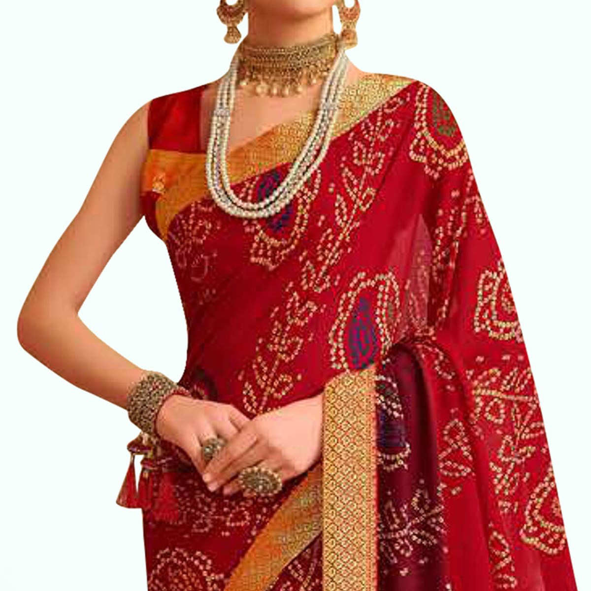Glorious Red Colored Bandhani Printed Heavy Georgette Saree With Jacquard Lace Border