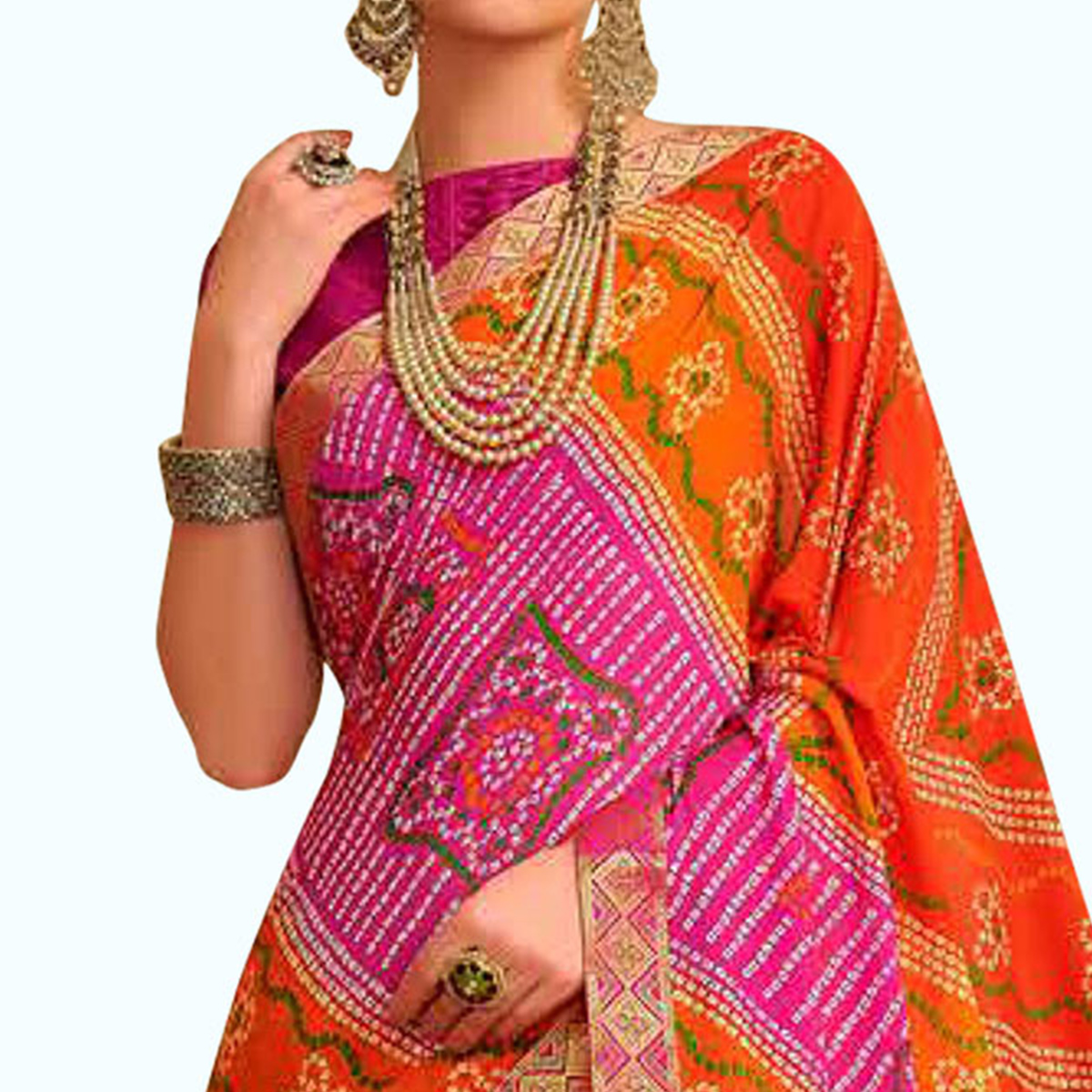 Attractive Orange-Pink Colored Bandhani Printed Heavy Georgette Saree With Jacquard Lace Border