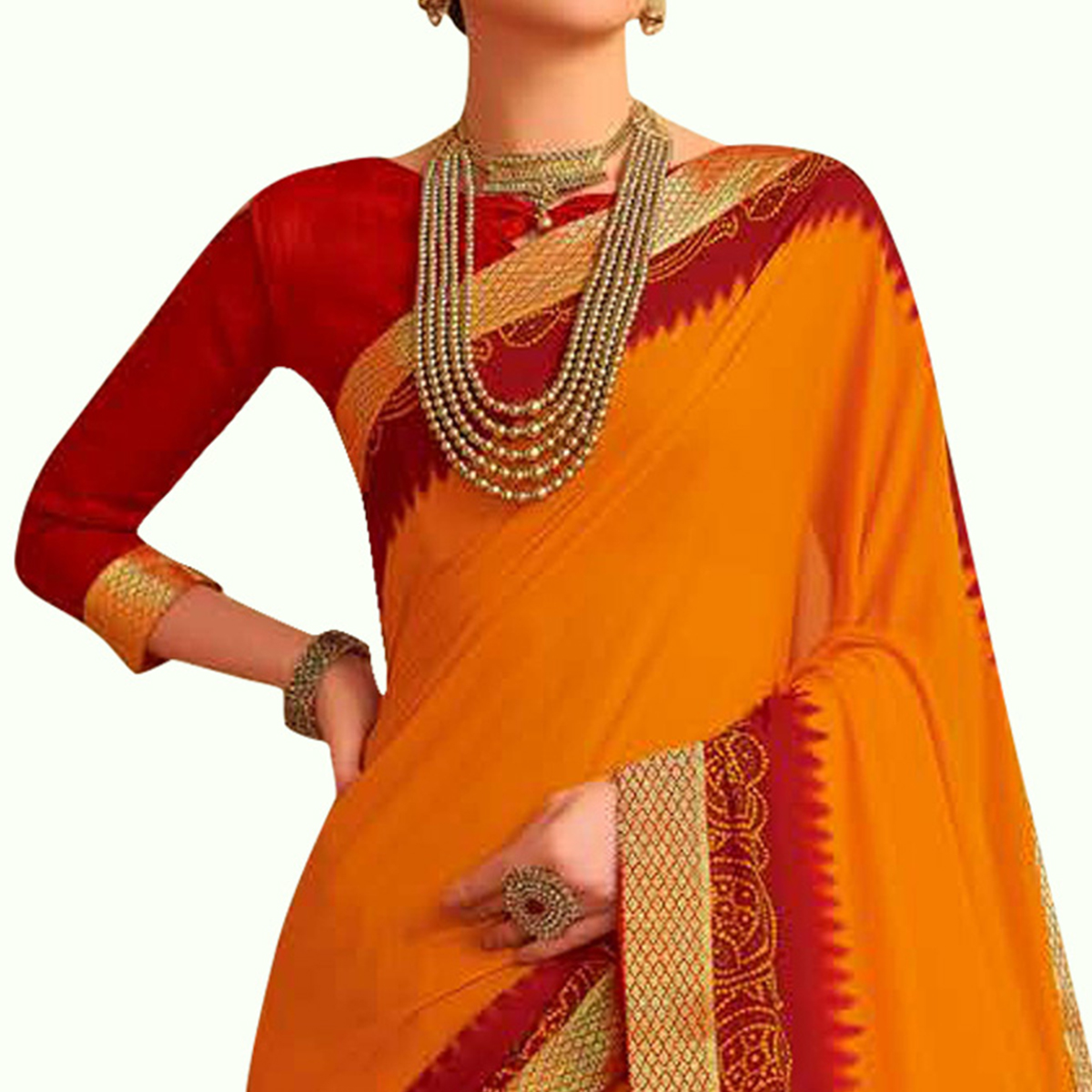 Blooming Orange Colored Bandhani Printed Heavy Georgette Saree With Jacquard Lace Border