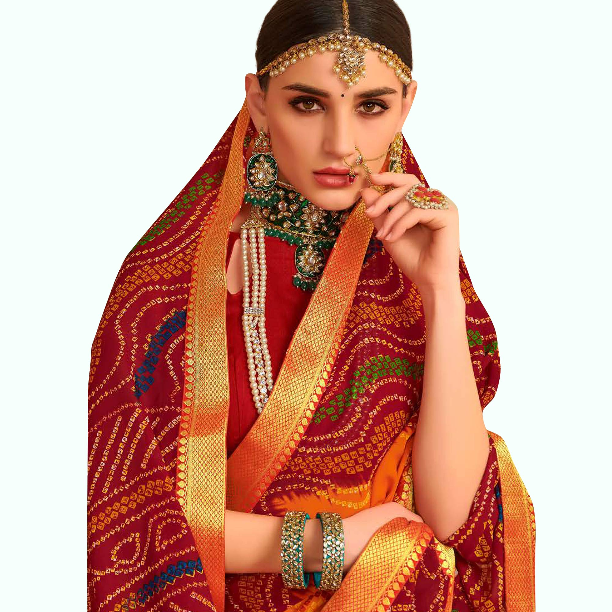 Jazzy Orange-Red Colored Bandhani Printed Heavy Georgette Saree With Jacquard Lace Border