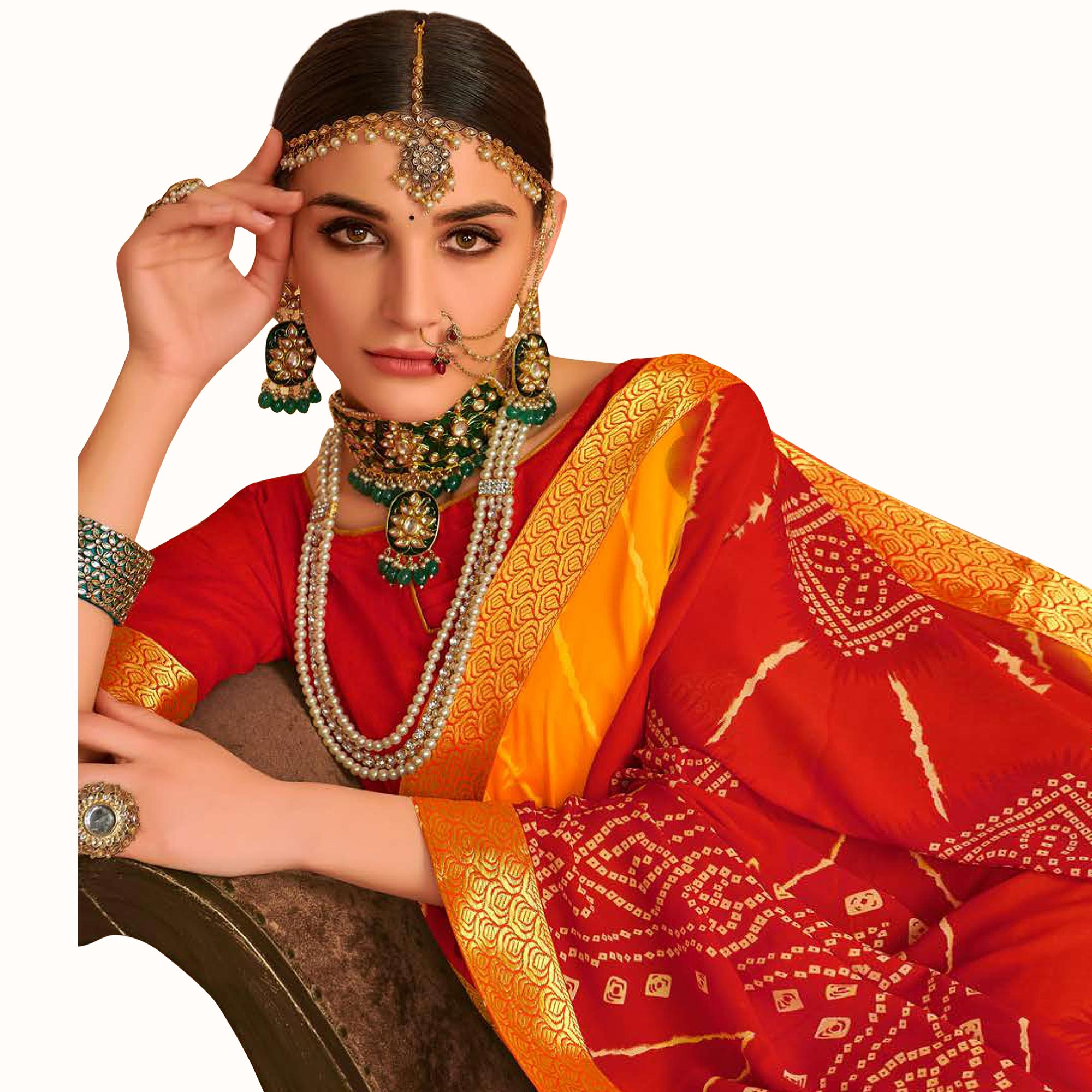 Captivating Yellow-Red Colored Bandhani Printed Heavy Georgette Saree With Jacquard Lace Border