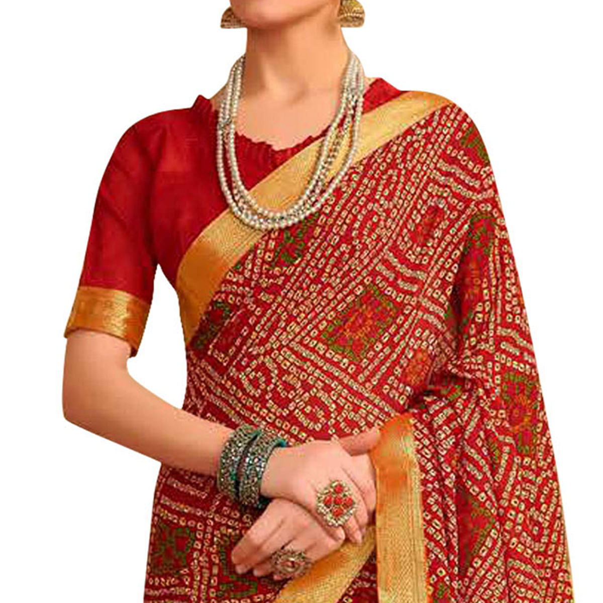 Demanding Red Colored Bandhani Printed Heavy Georgette Saree With Jacquard Lace Border