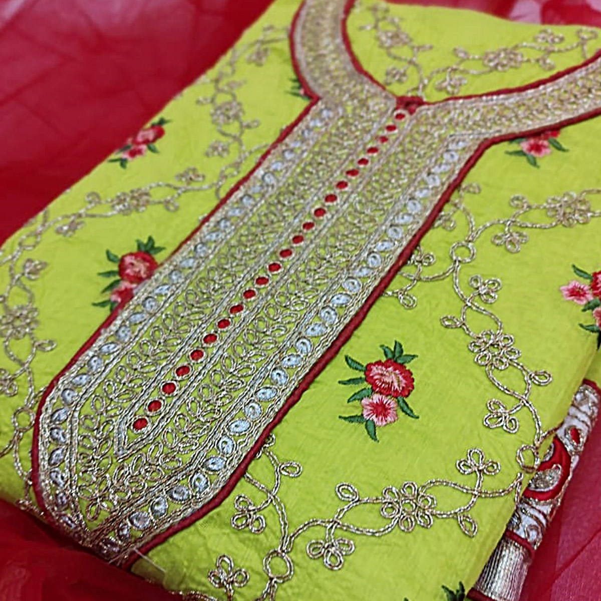 Adorable Green Colored Partywear Embroidered Modal Dress Material