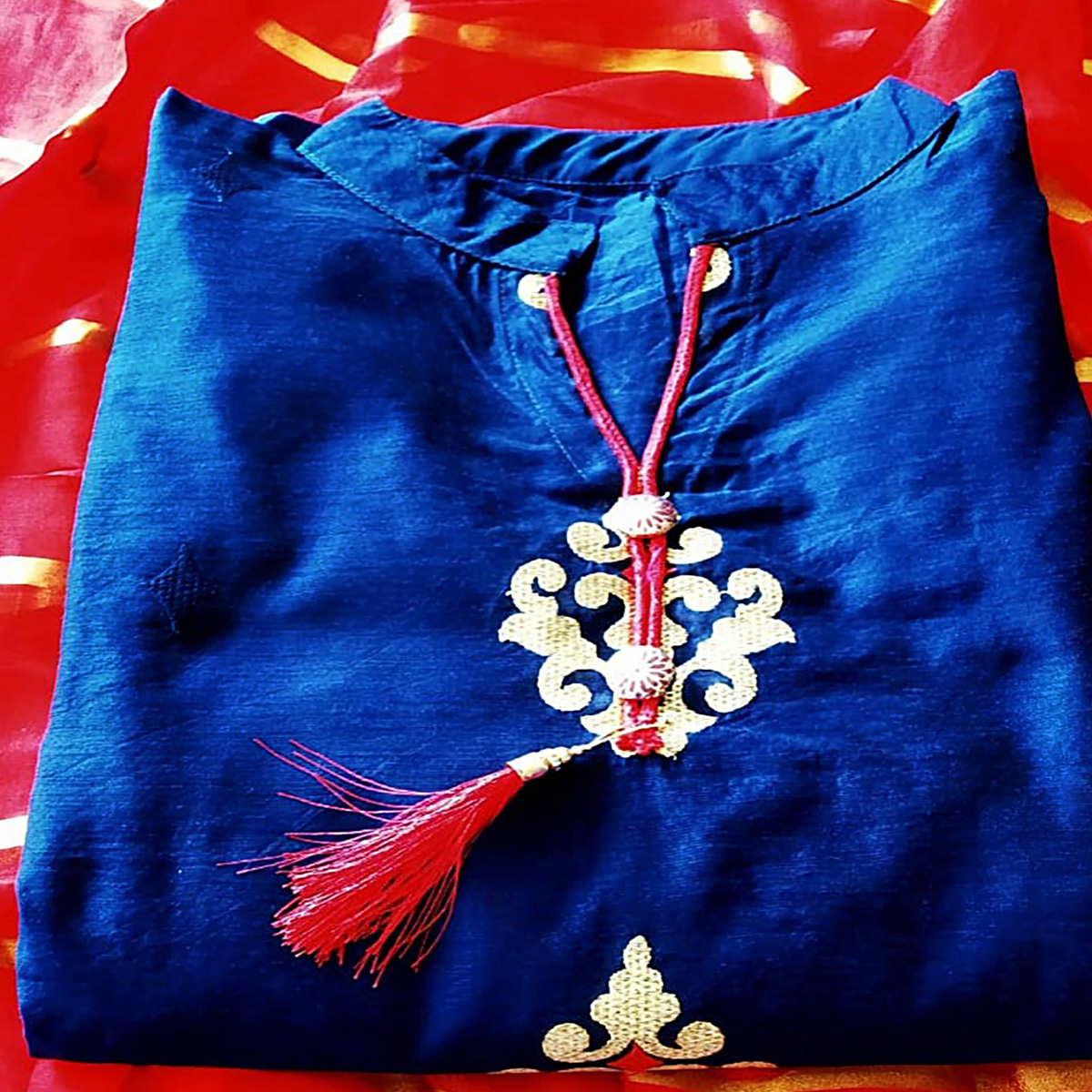 Radiant Navy Blue Colored Partywear Embroidered Modal Dress Material