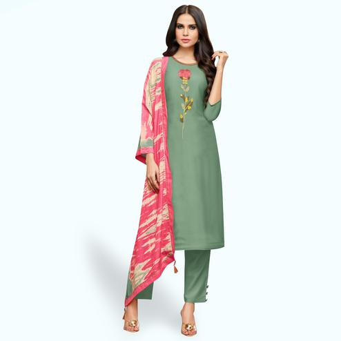 Adorable Pastel Green Colored Party Wear Cotton Silk Salwar Suit