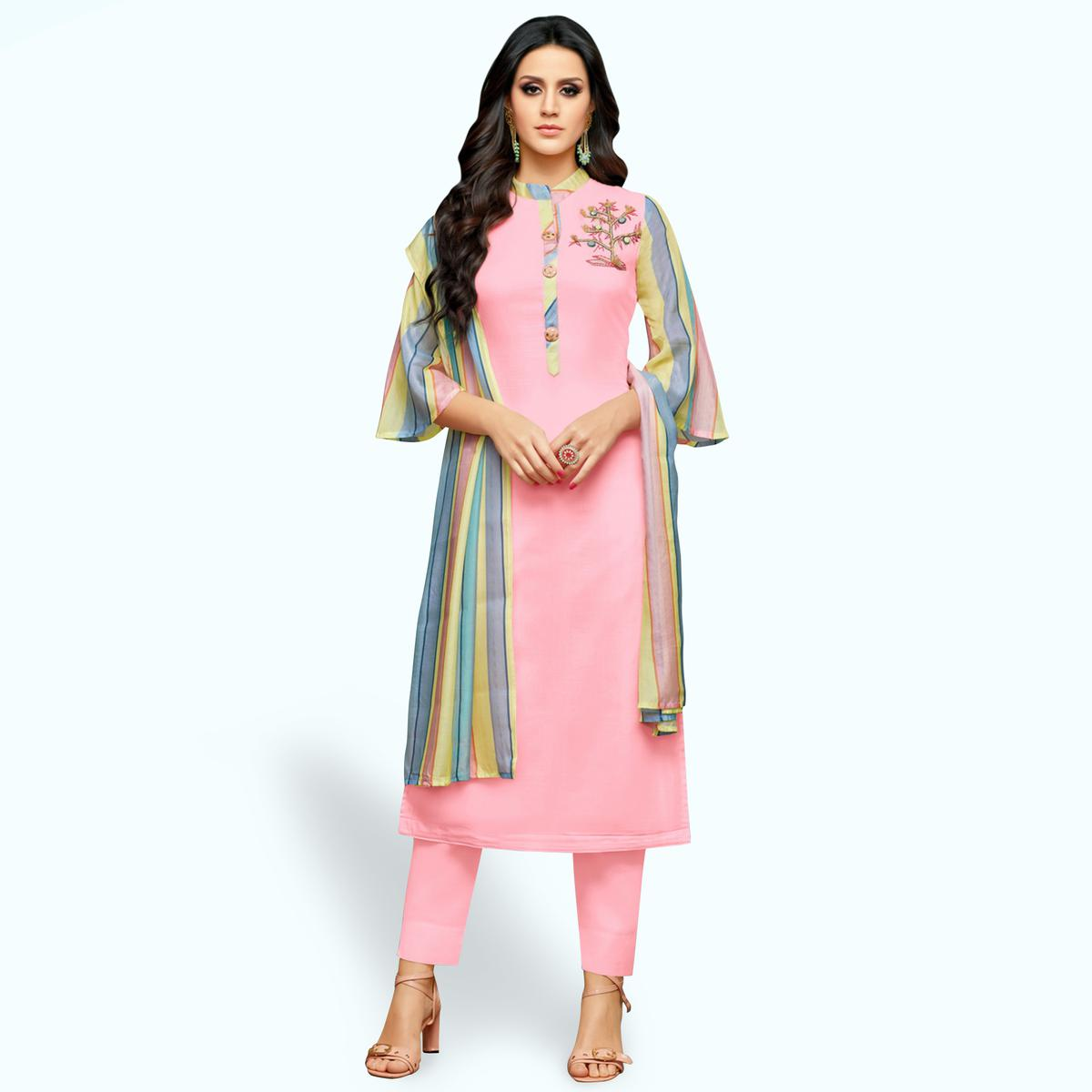 Glorious Pink Colored Party Wear Cotton Silk Salwar Suit