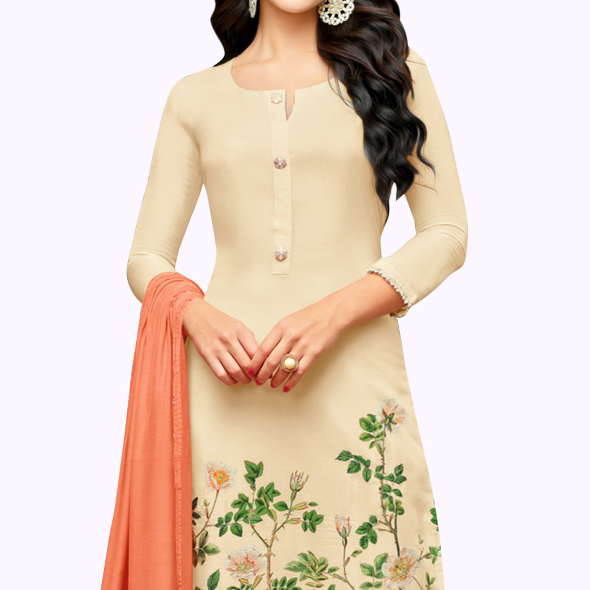 Attractive Beige Colored Party Wear Cotton Silk Salwar Suit
