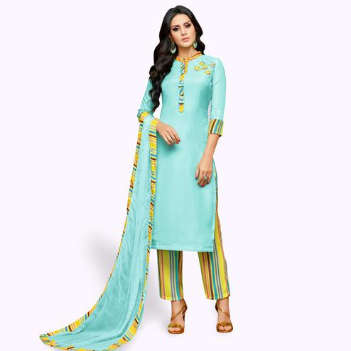 Beautiful Aqua Blue Colored Party Wear Cotton Silk Salwar Suit