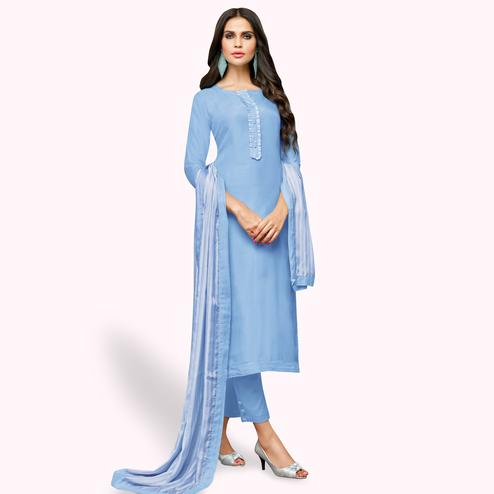 Graceful Blue Colored Party Wear Cotton Silk Salwar Suit