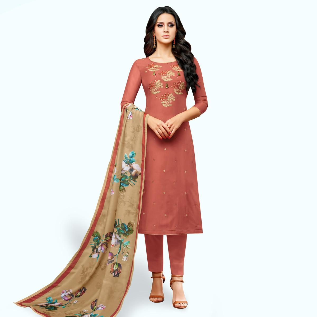 Blooming Pastel Red Colored Party Wear Cotton Silk Salwar Suit