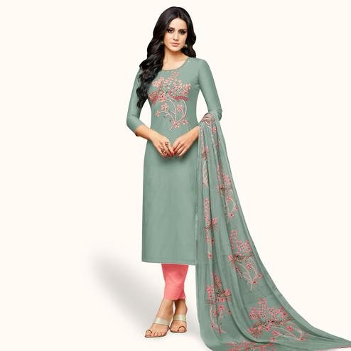 Charming Gray Colored Party Wear Cotton Silk Salwar Suit