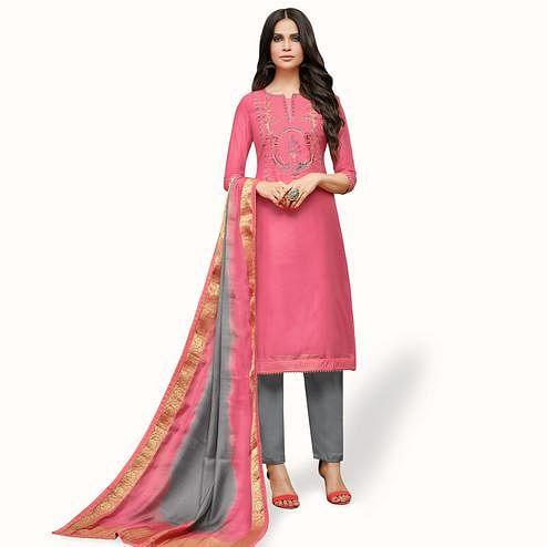 Delightful Pink Colored Party Wear Cotton Silk Salwar Suit