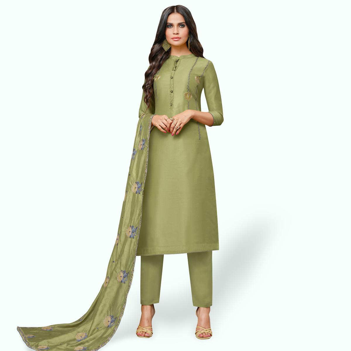 Engrossing Olive Green Colored Party Wear Cotton Silk Salwar Suit
