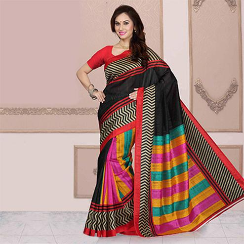 Black Multi Color Printed Saree