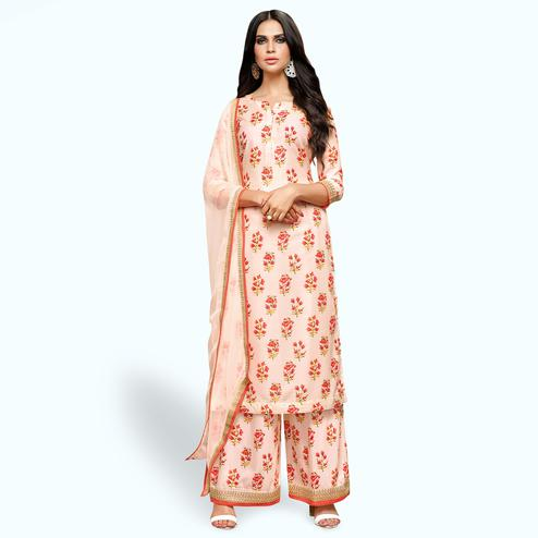 Captivating Pastel Pink Colored Party Wear Cotton Silk Salwar Suit