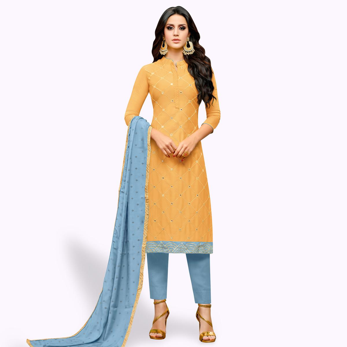 Fantastic Pastel Orange Colored Party Wear Cotton Silk Salwar Suit