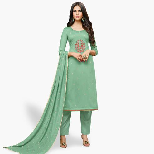 Amazing Green Colored Party Wear Cotton Silk Salwar Suit